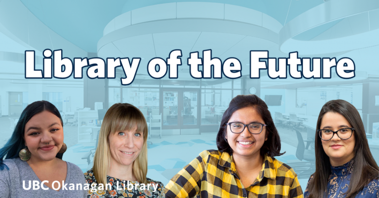 Library of the Future with four library employees standing in front of a blue tinted image of the library